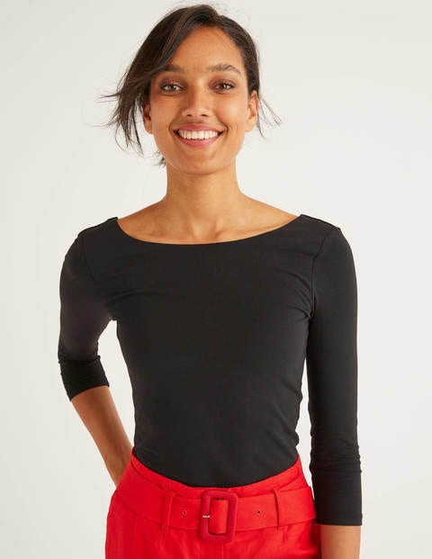 Double Layer Scoop Back Top - Black
