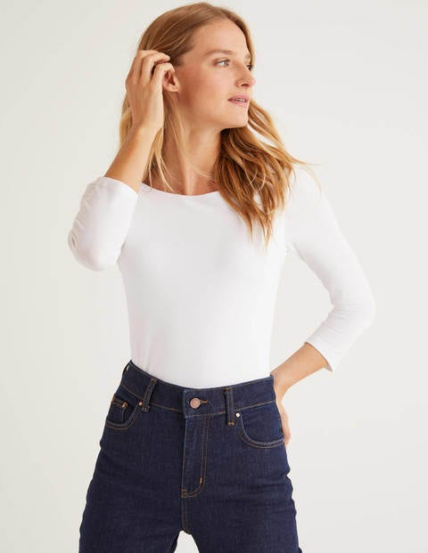 Double Layer Scoop Back Top - White