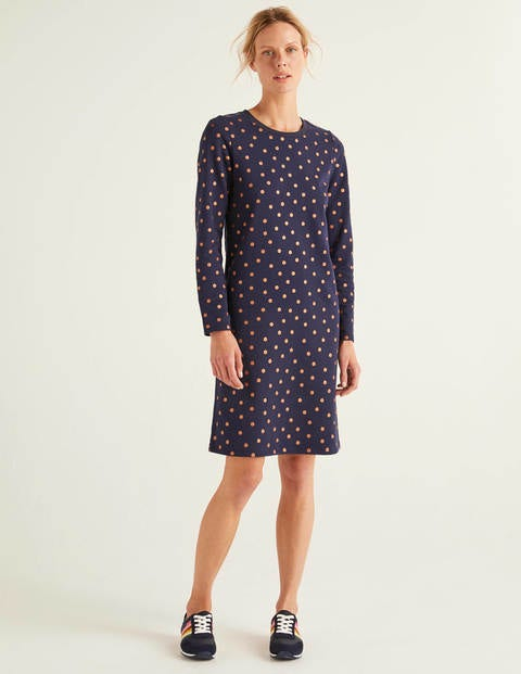 Sweatshirt Dress - Navy, Scattered Dot Small