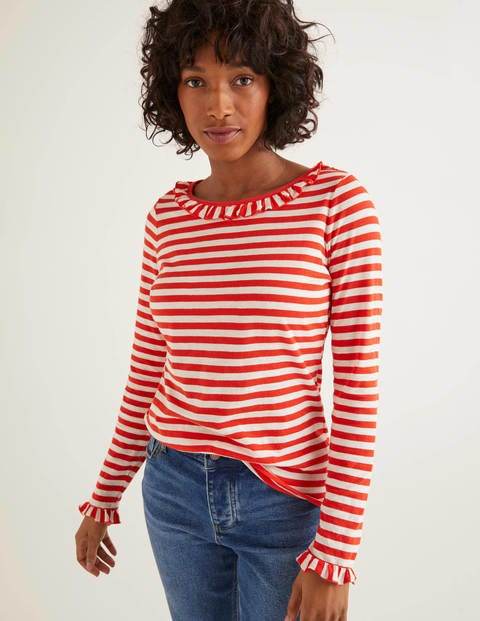 Olive Jersey Top - Ivory/Red Pop