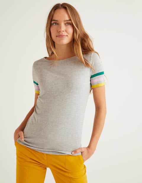 Short Sleeve Striped Cuff Tee - Grey Marl Multi Cuff