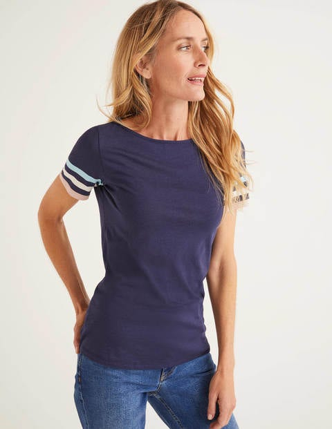 Short Sleeve Striped Cuff Tee - Navy Multi Cuff