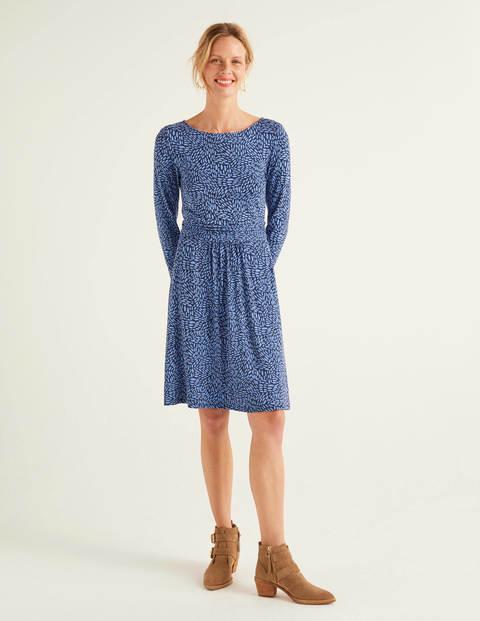 Abigail Jersey Dress - Sky Blue, Pebble Dot