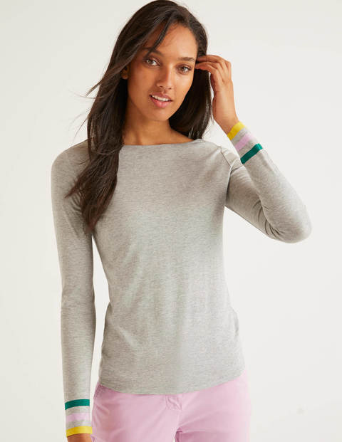 Striped Cuff Tee - Grey Marl Multi Cuff