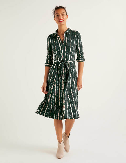 Susannah Jersey Shirt Dress - Midnight Garden, Daisy Ribbon