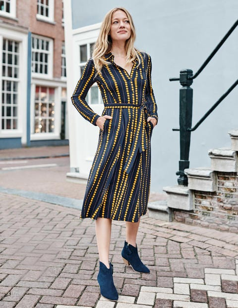 Susannah Jersey Shirt Dress - Navy, Daisy Ribbon