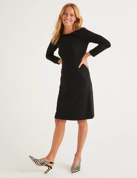 Jacquard-Kleid mit Wabenmuster - Schwarz
