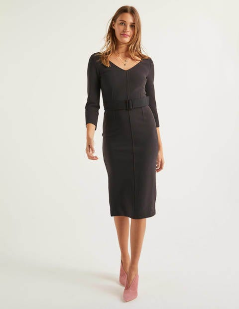 Margie Ottoman V-Neck Dress - Black