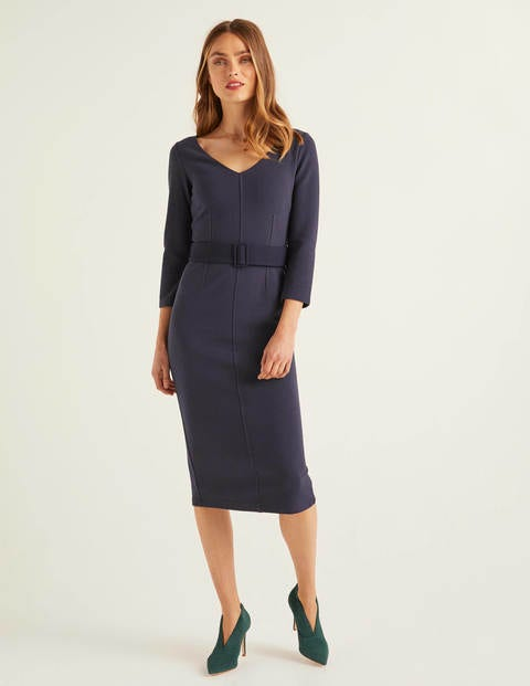 Margie Ottoman V-Neck Dress - Navy