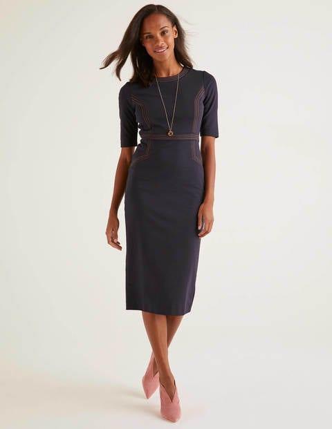Kate Stitch Detail Ponte Dress - Navy
