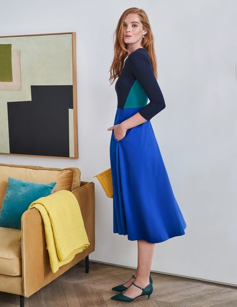 Ivy Ponte Midi Dress - Bright Blue Colourblock