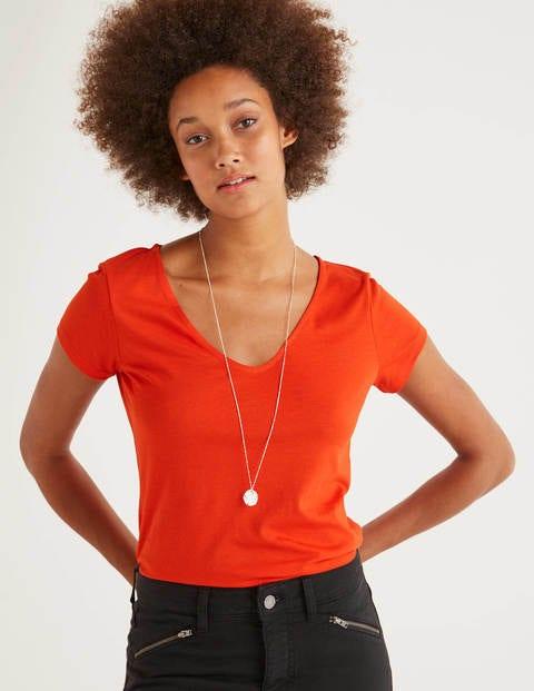 Superweiches T-Shirt Mit Flügelärmeln - Orangerot