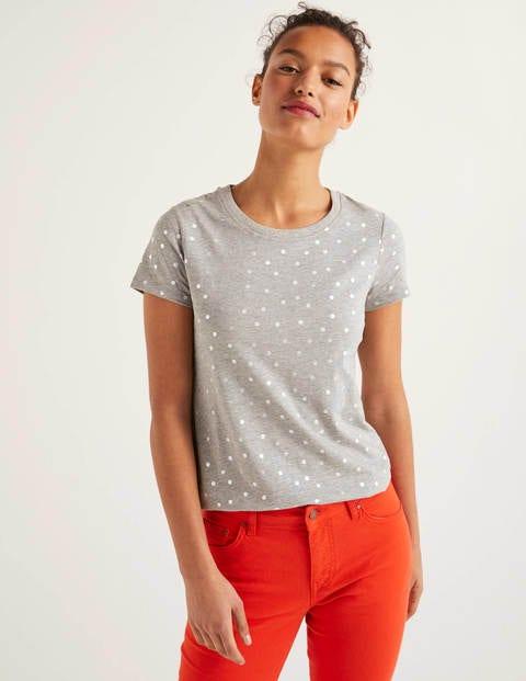 Henrietta Jersey-T-Shirt - Grau/Schiefergrau-Metallic, Getupft