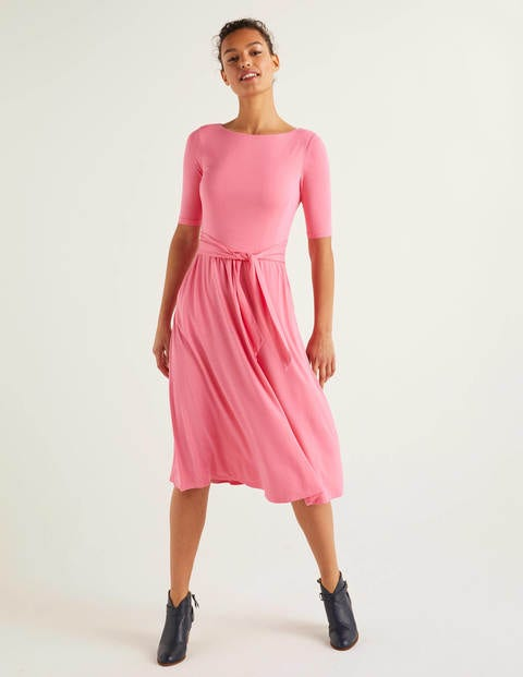 Eloise Jersey Dress - Bright Camellia