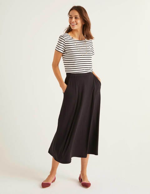 Jersey Midi Skirt - Black
