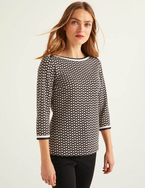 Rhea Jersey Jacquard Top - Black and Ivory, Ticker