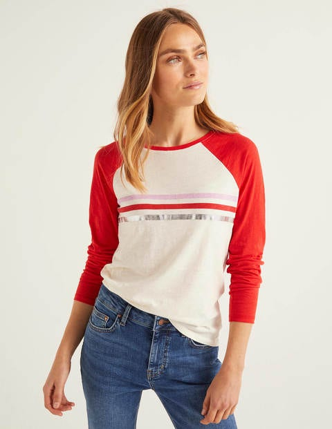 Allie Jersey Tee - Post Box Red/Ivory Multi