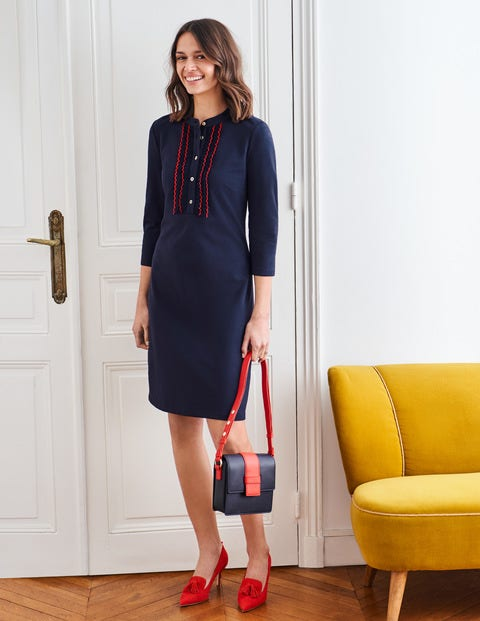 Florence Ponte Shift Dress - Navy