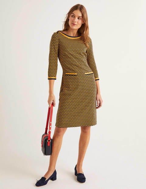 boden - Rhea Jacquard-Kleid Navy Damen , Navy