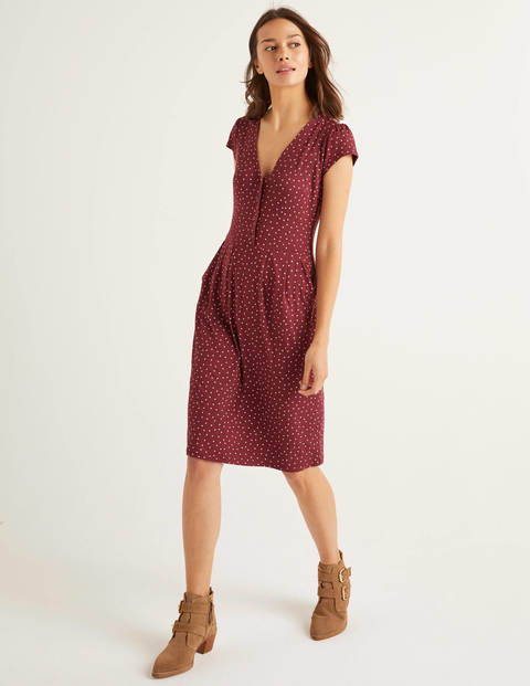 Alberta Jersey Dress - Maroon, Polka Dot