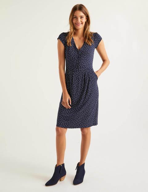 Alberta Jersey Dress - Navy, Polka Dot
