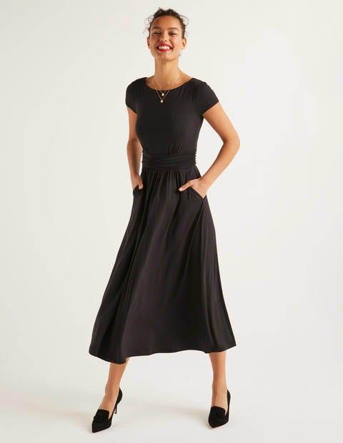 Faye Jersey Midi Dress - Black