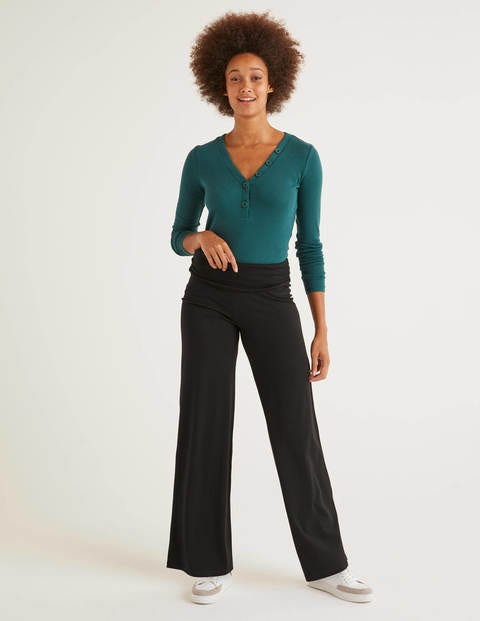 Wide Leg Jersey Trousers - Black
