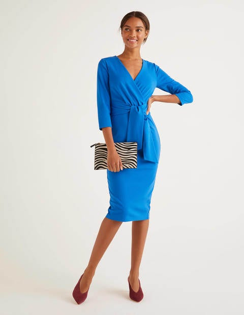 Sophie Ponte Dress - Bold Blue
