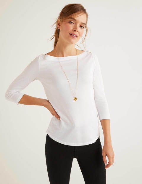 Supersoft Slash Neck Top - White