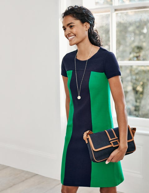 Lizzie Ottoman Dress - Navy/ Rich Emerald