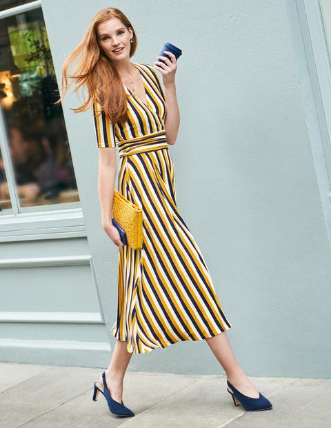 Kassidy Jersey Midi Dress - Tuscan Sun/ Navy