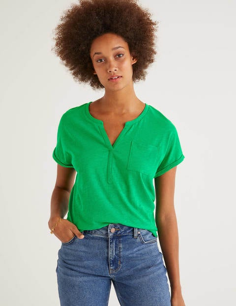 The Cotton Turn Up Cuff Tee - Rich Emerald