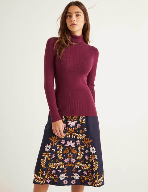 Tilly Cotton Roll Neck Jumper - Ruby Ring