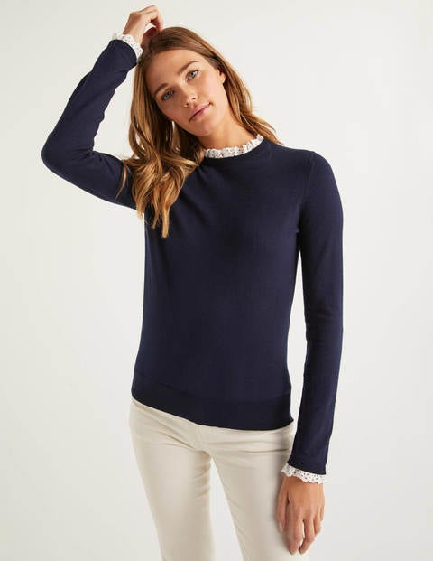 Lincoln Frill Neck sweater - Navy