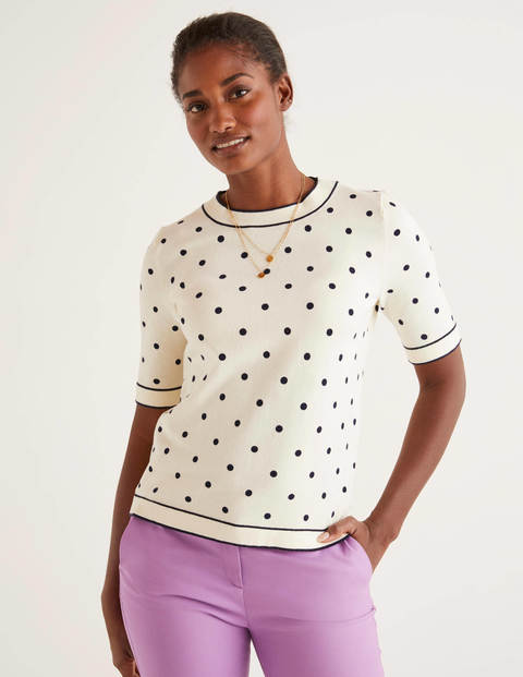 Abingdon Knitted Tee - Ivory/Navy Spot