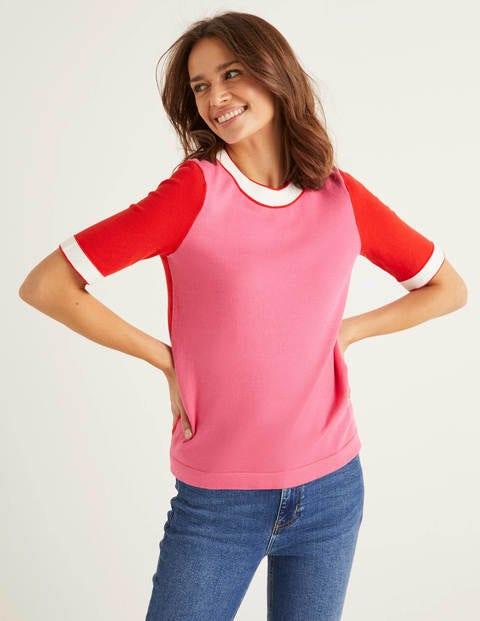 Abingdon Cotton Knitted Tee - Bright Camellia