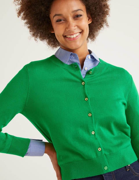 Eldon Cotton Crop Cardigan - Rich Emerald
