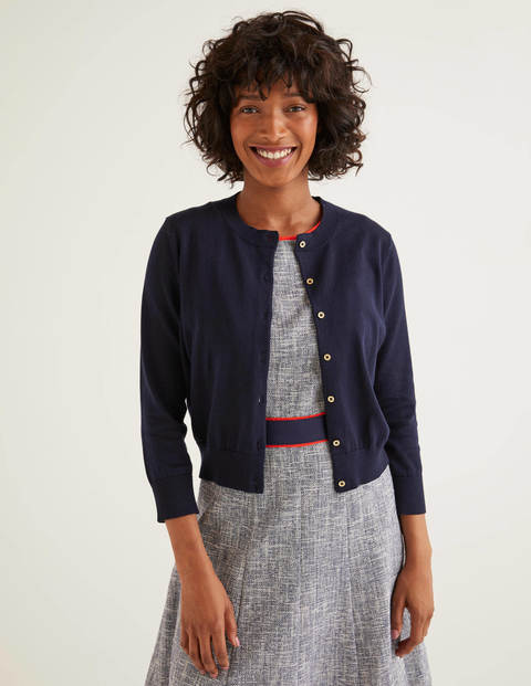 Eldon Cotton Crop Cardigan - Navy