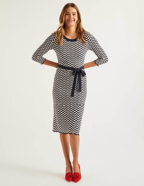 Powis Pointelle Knitted Dress - Navy/Ivory Stripe