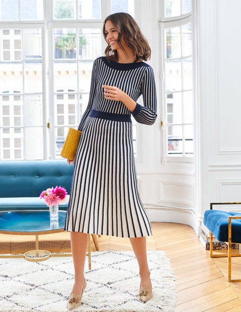 Rita Knitted Dress - Navy/Ivory Stripe