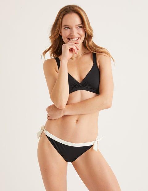 Tie Bikini Bottoms - Black/Ivory Contrast