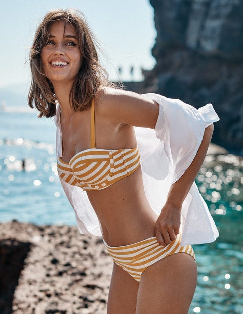 Eze Fold Over Bottoms - Yellow/Ivory Stripe