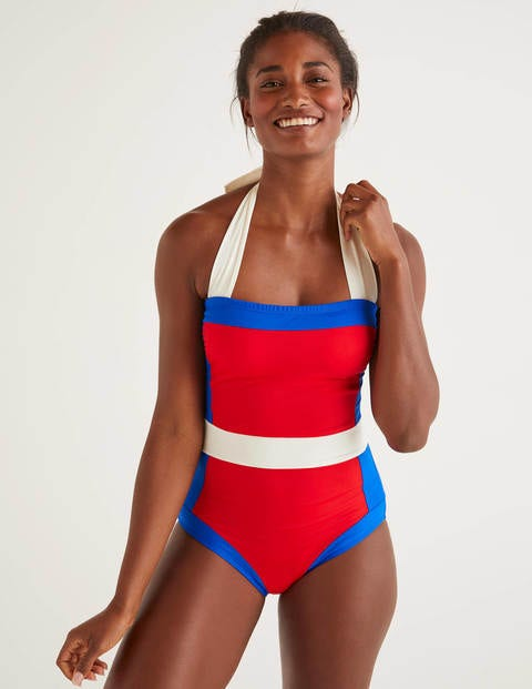 Vintage Bathing Suits | Retro Swimwear | Vintage Swimsuits Santorini Swimsuit Red Women Boden Red £60.00 AT vintagedancer.com