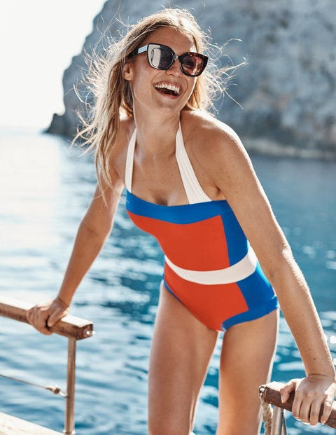 Red/Blue Colourblock Santorini Halterneck Swimsuit - Hot Pepper Colourblock
