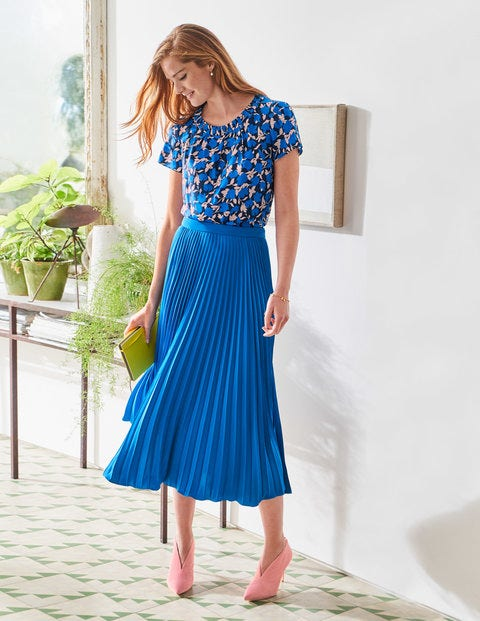 Kristen Pleated Skirt - Bold Blue