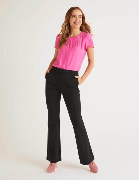 Bath Bi-Stretch Flare Trousers - Black