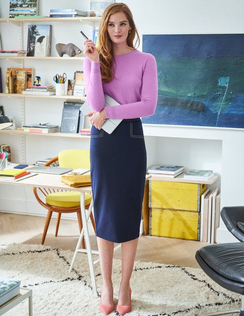 Sedley Topstitch Pencil Skirt