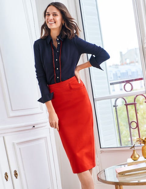 Sedley Topstitch Pencil Skirt - Postbox Red/Navy