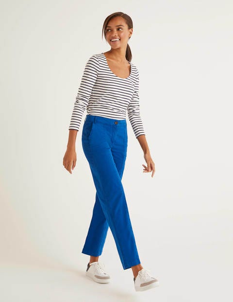 Daisy Cropped Chino Trousers - Bold Blue