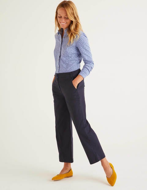 Daisy Cropped Chino Trousers - Navy